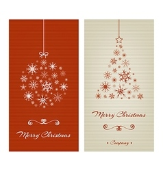 Marry christmas cards with ball and tree from vector