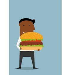 Businessman with large appetizing hamburger vector