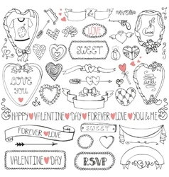 Valentines daywedding iconframesribbon decor vector