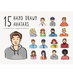 Hand drawn avatars set of different characters vector