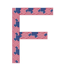 Letter f made of usa flags vector