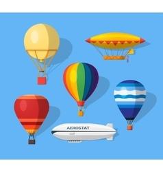 Aerostat flat icons vector