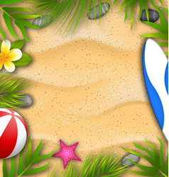 Beautiful poster with palm leaves beach ball vector
