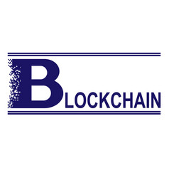 blue blockchain text vector image vector image