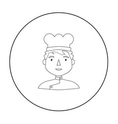 Chef icon in outline style isolated on white vector