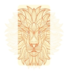 Detailed lion in aztec style vector