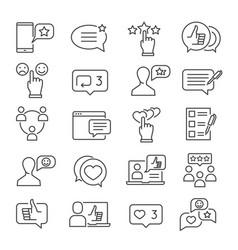 feedback line icon set vector image