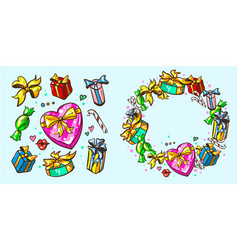 gift packages with frames holidays vector image