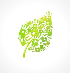 Green leaf made of handprint eco concept vector