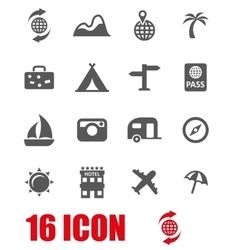 grey travel icon set vector image vector image