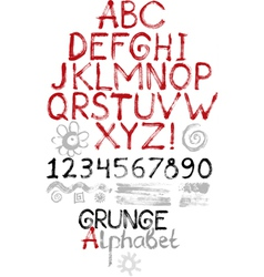Hand drawn grunge alphabet vector