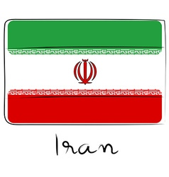 Iran flag doodle vector image vector image