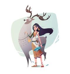 Magic reindeer shaman and girls vector