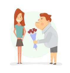 man gives his girlfriend flowers cartoon vector image