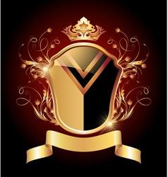 Medieval heraldic shield ornate golden ornament vector