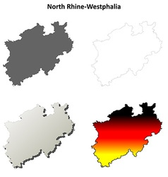 North rhine-westphalia blank outline map set vector