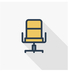 Office chair line flat icon vector