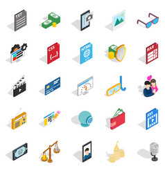 Photo icons set isometric style vector