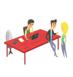 Three workers sharing office young people vector