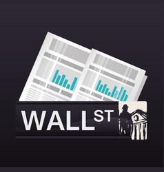 Wall street new york statistics economy vector