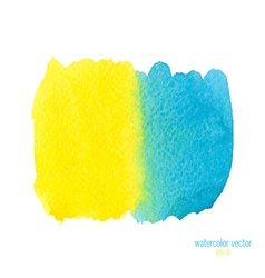 Yellow blue watercolor stain vector