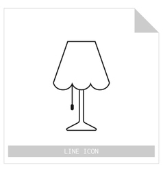 Table lamp flat linear icon object of interior vector