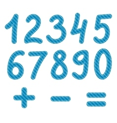 Blue numbers from zero to nine vector