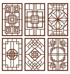 Traditional korean door and window ornament vector