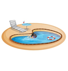 A boy swimming at the pool with a beach chair and vector