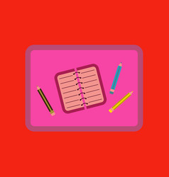 Flat icon on background notebook pencil table vector
