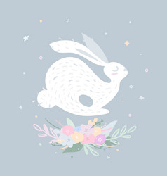 Nice rabbit jumping over delicate flowers vector