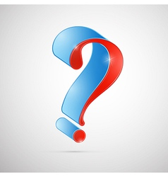 Red and Blue 3d Question Mark Symbol vector image