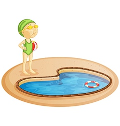A young girl in the pool vector
