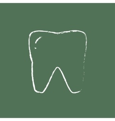 Tooth icon drawn in chalk vector