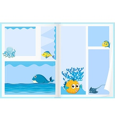 Paper design with sea animals vector