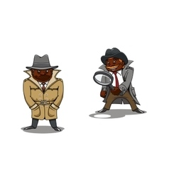 Cartoon detective and spy with magnifier vector