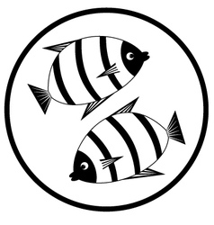 Emblem with fishes vector