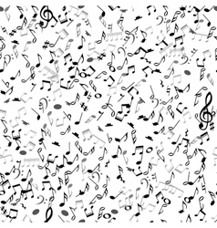 Abstract musical seamless pattern with black notes vector