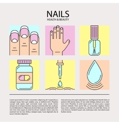 Set of color line icons on the theme of nails vector