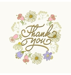 Card template with hand drawn flower border and vector