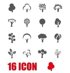 Grey trees icon set vector