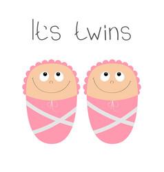 baby shower card its twins girl cute cartoon vector image