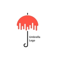 black and red umbrella logotype vector image vector image
