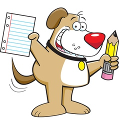 Cartoon Dog Holding a Pencil vector image vector image