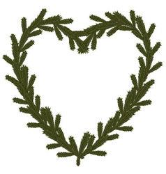 Christmas coniferous heart symbol vector