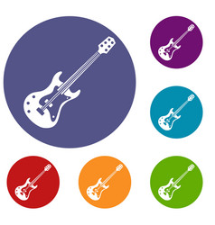 Classical electric guitar icons set vector