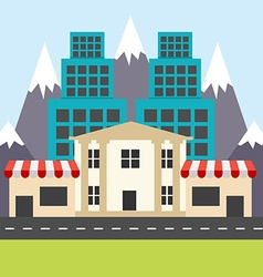 Colorful city in the flat style corner shops vector