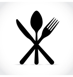 Crossed fork knife and spoon vector image vector image