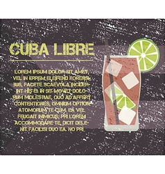 Cuba libre cocktail with text description retro vector