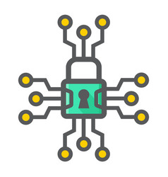 Cyber security colorful line icon padlock vector